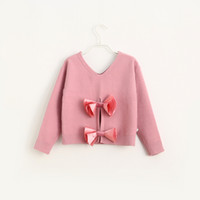 Wholesale Chrismas Babies Knit Bow Sweaters Kids Girls Knitted Princess Pullover Baby Girl Autumn Winter V neck Jumper tops Children s clothing