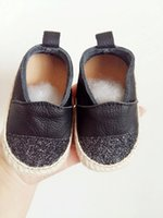 Wholesale Summer Baby Boys Girls Loafer Shoes Genuine Leather Handmade Straw Slip On Flat Shoes Toddler Moccasins Infant Espadrilles Kid Shoes