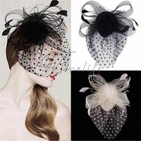 Wholesale Fashion Black Ivory Hair Clip Mini Hat Cocktail Hat Fascinator Party decoration Feather Lady Headband Church Wedding Favor Hair supplies