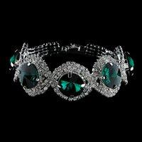 acrylic round ornament - Women fashion accessories round crystal colored glaze bracelet souvenir gift woman charm chain green popular ornaments