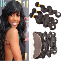 Wholesale 7A Peruvian Body Wave Full Lace Frontals No Baby Hair x4 Peruvian Human Hair Ear To Ear Lace Frontal Closure With Bundles