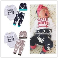 Wholesale Christmas Pajamas Baby Set INS Hot Sale Boys Infant Long Sleeves Romper Pants Cap Autumn Winter Deer Jumpsuit Leggings Hat Suit New