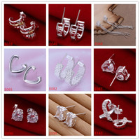 Wholesale 10 pairs diffrent style women s gemstone silver earrings GTE4 high grade fashion sterling silver stud earrings