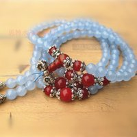 agate rosary - 6mm Natural blue chalcedony bracelet red agate bracelet fozhu rosary bracelet multi layer bracelet tibetan silver trumpet