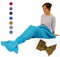 Wholesale 7 Colors Crochet Mermaid Tail Fin Snuggie Blanket Adult Sleeping Bag Warm Fabric Knitted Manta Sofa Throw Blanket