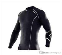 Wholesale 2XU compression garment male tight compression garment long sleeved T shirt movement