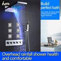 bath shower designs - New Design LED Shower Set Rainfall Waterfall Shower Head Thermostatic High Flow L Bath Shower Mixer Bathroom Accessories