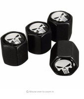 Wholesale 4X Black Car Auto Wheel Tyre Tire Stem Air Valve Caps Dust Covers Skull Punisher Wheel Bolt Nut