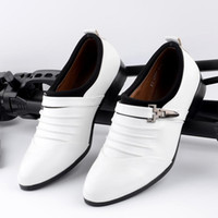 Wholesale The Korean men pointed shoes shoes white leather shoes personality Casual Shoes White Shoes Mens Club