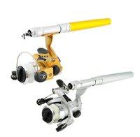 Wholesale New Mini Portable Pocket Fish Pen Shape Aluminum Alloy Fishing Rod Pole Reel