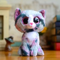 beanie boo cats - New Ty Beanie Boos Kids Plush Toys Big Eyes Soft Lindi cat pink Lovely Girls Gifts Kawaii Baby Cute Stuffed Animal Boys Dolls