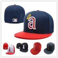 al por mayor letras de los ángeles-Venta al por mayor Los Angeles Angels Equipada Caps Un equipo de béisbol del sombrero del casquillo del tamaño-ala plana Carta de bordado gorra de béisbol