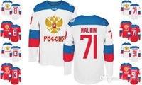 Precio de Maillot olímpico rusia-Copa Mundial 2016 Rusia Hombres TODOS LOS Jugadores Blanco Rojo Blanco Tag # 71 MALKIN # 13 DASTYUK Jerseys de hockey Casa Olímpica Away Stitched American Wear