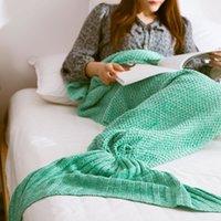 Wholesale Blanket Kintted Mermaid Blankets Sleeping bags Handmade Crochet Mermaid Tail Blankets Cartoon Blankets Mermaid Sleeping Bags