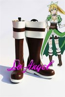 alo black - Anime Sword Art Online ALO Suguha Kirigaya Lyfa Cosplay Party Shoes Brown Fancy Boots Customized Size