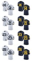Wholesale Customized Jumpman Michigan Wolverines Jersey Griese Howard Lewis Men Limited College Football Custom White Blue Jerseys