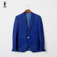 Wholesale 2016 UR Blue Hot Gentlemen Handmade Plus Size Costume Homme Blazer Tuxedo Wedding Men Custom Made Men Suit Jacket Clothes
