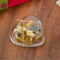 Wholesale Tune Kiss the rain heart shaped Acrylic musical box Note Wind up gold mental musical movement Musical toy gift