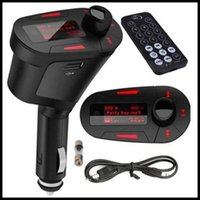 aux remote control - 50pcs Car Kit MP3 Player Wireless FM Transmitter Aux in SD MMC USB Modulator Remote Control With Green Blue Red Light