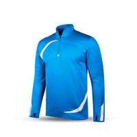 Wholesale Kelme K15Z316 Men Long Sleeve Half Zip Hoods Thumb Clasp Football Training Knit Jacket Blue