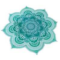 beach towel black - 10pcs Lotus Flower Shape Mandala Indian Tapestry Wall Hanging Floral Printed Beach Throw Towel Hippie Gypsy Yoga Mat Blanket cm