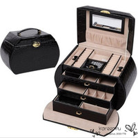 beauty jewelry case - 3 Colors New Luxury Solid Leather Jewelry Boxes Lockable Makeup Beauty Vanity Cosmetic Case Mirror Storage