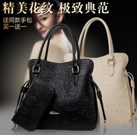 big flower purses - 2016 Spring Women Bag Set Elegent Flower Womens Leather Handbags and Purses New Designer Cross Body Bag Female Big Tote Bags