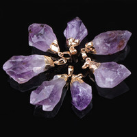 amethyst slices - Multicolor Agate Slice Pendant Natural crystal pendants women Amethyst pendant Crystal tooth K gold plated semi precious stone jewelry