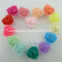 acrylic plastic rose beads - 50pcs Plastic Acrylic Candy color Rose mm Spacer Beads Fashion Jewelry Findings