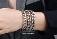 Wholesale High Quality Fashion European American L Stainless Steel Punk Biker Chain Bracelet Three Size Styles Mixed order For Both Men and Women