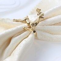 Wholesale Christmas deer napkin rings Silver Gold Alloy napkin buckle napkin buckle hotel wedding party table decoration
