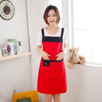 bib aprons with pockets - Pvc Waterproof Adjustable Apron Bib Uniform With Pockets Hairdresser Kit Salon Hair Tool Chef Waiter Kitchen Cook Tool Color