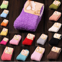 Wholesale Winter Warm Candy Solid Color Thicken Coral Fleece Non slip Fluffy Ankle Floor Towel Socks