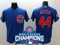 Wholesale Rizzo Cubs World Series Champions Patch MLB Chicago Mens Jerseys Blue MLB Baseball Jersey Free Drop Shipping Lymmia