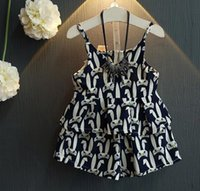 Wholesale Cartoon suit summer new baby girls adorable rabbit vest Camisole Shorts Set