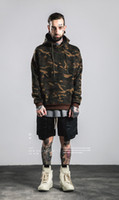 Wholesale 2016 high street fall off the shoulder sleeve thickening hooded brown camouflage men s fleece