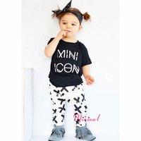 Wholesale kids girls letters clothes baby pieces clothing toddler summer sets children casual short sleeve t shirt pattern pants suit