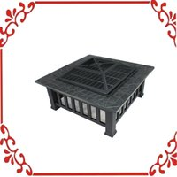 Wholesale Outdoor quot Metal Firepit Backyard Patio Garden Square Stove Fire Pit With Cover