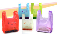 Wholesale cm HDPE Plastic Shopping Bags Supermarket Vest Apparel Promotion Bag Colorful Smiling Bear Printing