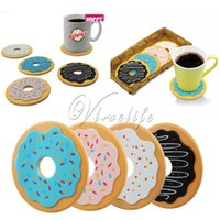 beer mat coaster - 4Pcs Set Round Donut Coasters Drink Bottle Beer Coffe Cup Mats cup mat silicone coaster posavasos Home Dining Decor