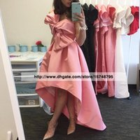 big robes - Robe De Soiree New Fashion Strapless with Big Bow Prom Dresses Pink Ruched High Low Evening Dresses Saudi Arabia Formal Dress