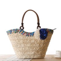 Wholesale Girls fresh flower straw shoulder beach handbag women s innumeracy bag