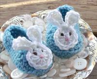 aqua ear bands - 100 handmade newborn Loafers Aqua Blue Baby Bunny Ears Crochet Baby Booties spring baby walking shoes cartoon toddler shoes pairs