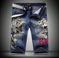 Al por mayor-marca de fábrica original impreso Jeans verano de los hombres del cortocircuito del estilo del motorista Ripped jeans ajustados Uglybros de la motocicleta de los pantalones vaqueros más tamaño Shipping