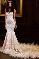 Wholesale Sweetheart Neckline Trumpet Wedding Dress - berta bridal gowns 2016 mermaid wedding dresses lace appliques beaded sweetheart neckline sheer back train wedding gowns