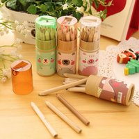 Wholesale 48 in case mini Color wood pencil for kid Cute bear colored pencils lapiseira stationery school supplies OP1006