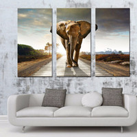 african art wall hanging - LK377 Panel African Elephant Walk On The Road Wall Art High Giclle Wall Picture Ready to Hang For Home Bar Hub Kitchen Fashion Decorat