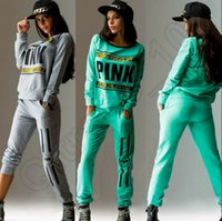 Wholesale Women Pink Tracksuit Hoodies Sweatshirt Pants SportWear Tracksuit Jogging Sport Suit Cardigan Costume Sets colors OOA864
