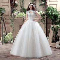 Wholesale under Vestido De Noiva Renda Vintage Lace Princess Wedding Dress Ball Gown White High Neck Wedding Dress Robe De Mariage