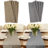 Wholesale 35 x275cm Rustic Hessian Imitated Linen Burlap Table Runner Natural Jute Tablecloth Wedding Event Party Gift Colors Available
